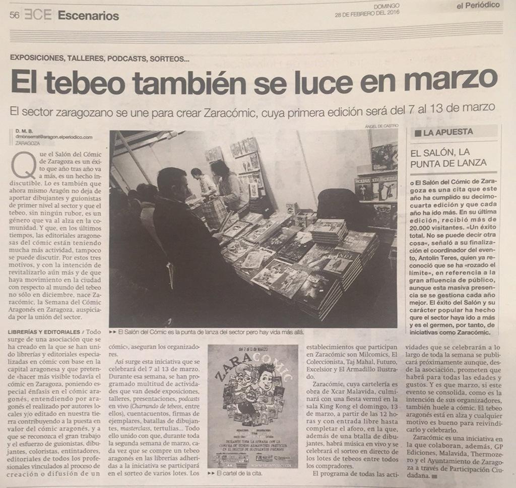 ZARACOMIC - EL PERIODICO 28-2-16 copia
